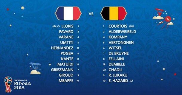 مونديال 2018| تشكيلة منتخبي بلجيكا وفرنسا