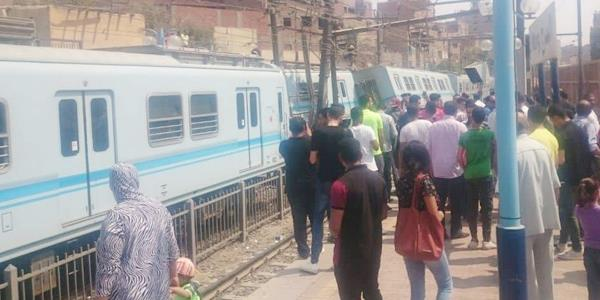 انقلاب عربة مترو بمحطة المرج القديمة في القاهرة