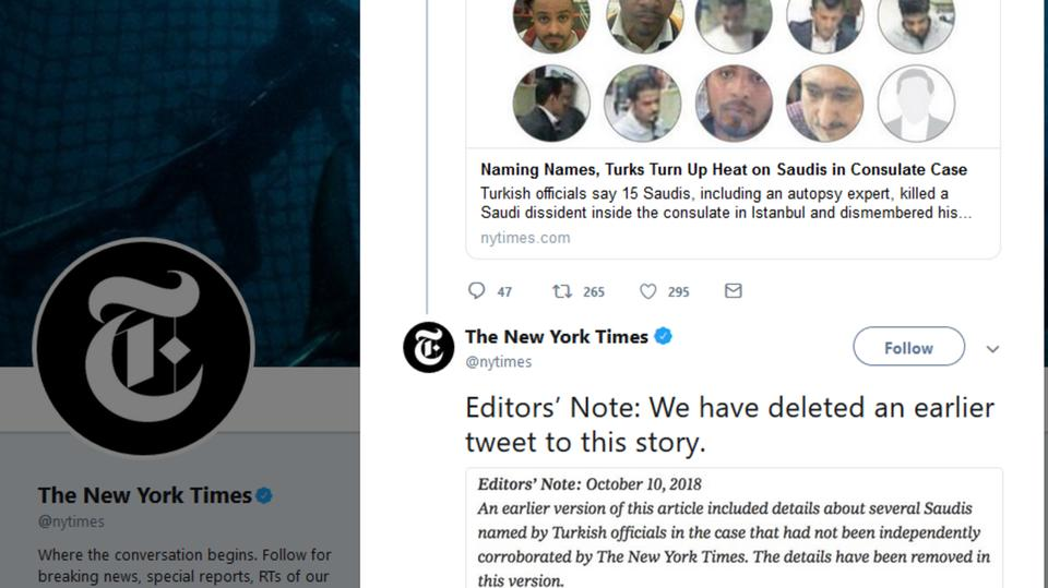 """""""العربية"""": """"نيويورك تايمز"""" تحذف خبرا مزيفاً عن الـ15 سعوديا باسطنبول"""