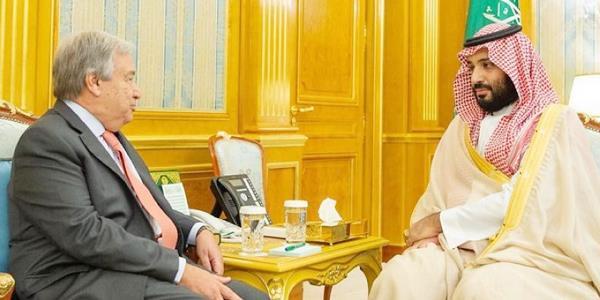 محمد بن سلمان لغوتيريس: ندعم جهود الأمم المتحدة للوصول لحل سياسي في اليمن