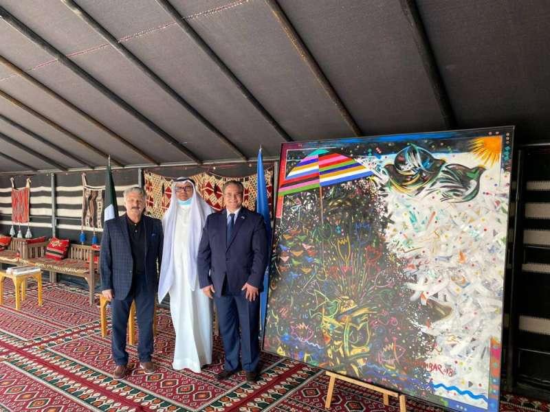 المباركي يهدي «الأمم المتحدة» لوحة تشكيلية من أعمال الفنان الكويتي محمد قمبر