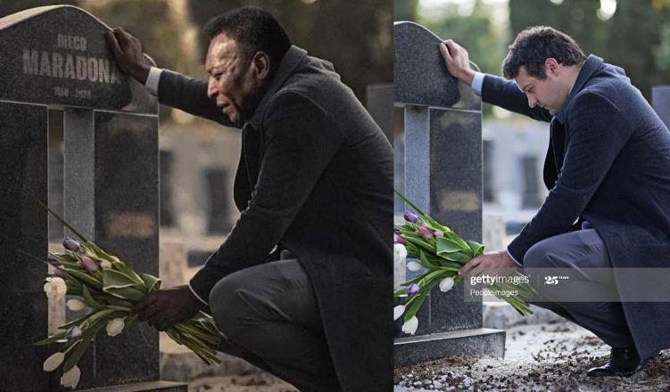 صورة بيليه جاثياً على قبر مارادونا.. مفبركة