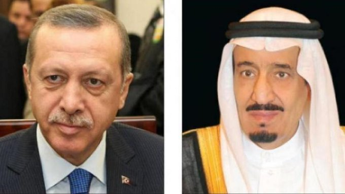 الملك سلمان يتلقى اتصالا هاتفيا من الرئيس التركي